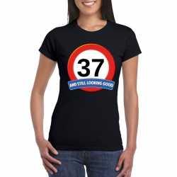 Verkeersbord 37 jaar t shirt zwart dames
