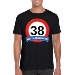 Verkeersbord 38 jaar t shirt zwart heren