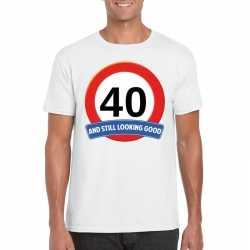 Verkeersbord 40 jaar t shirt wit heren