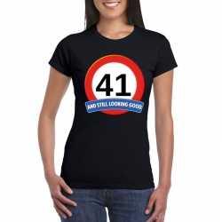 Verkeersbord 41 jaar t shirt zwart dames