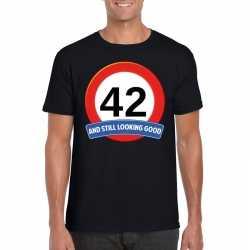 Verkeersbord 42 jaar t shirt zwart heren
