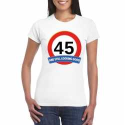 Verkeersbord 45 jaar t shirt wit dames