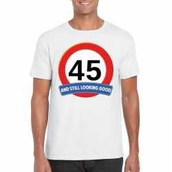 Verkeersbord 45 jaar t shirt wit heren
