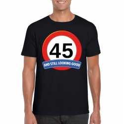 Verkeersbord 45 jaar t shirt zwart heren