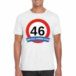 Verkeersbord 46 jaar t shirt wit heren