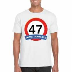 Verkeersbord 47 jaar t shirt wit heren