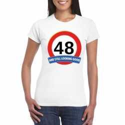 Verkeersbord 48 jaar t shirt wit dames