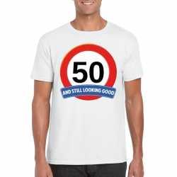 Verkeersbord 50 jaar t shirt wit volwassenen