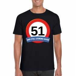 Verkeersbord 51 jaar t shirt zwart heren