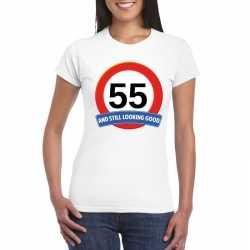 Verkeersbord 55 jaar t shirt wit dames