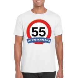 Verkeersbord 55 jaar t shirt wit heren