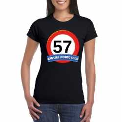 Verkeersbord 57 jaar t shirt zwart dames