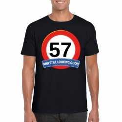Verkeersbord 57 jaar t shirt zwart heren