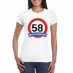 Verkeersbord 58 jaar t shirt wit dames