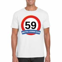 Verkeersbord 59 jaar t shirt wit heren