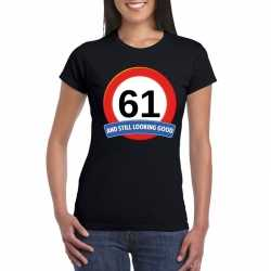 Verkeersbord 61 jaar t shirt zwart dames