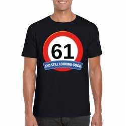 Verkeersbord 61 jaar t shirt zwart heren