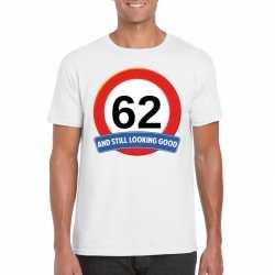 Verkeersbord 62 jaar t shirt wit heren