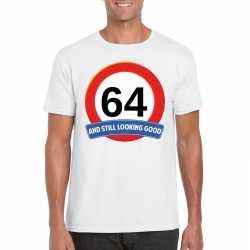 Verkeersbord 64 jaar t shirt wit heren