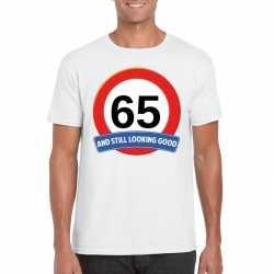 Verkeersbord 65 jaar t shirt wit heren