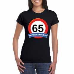 Verkeersbord 65 jaar t shirt zwart dames