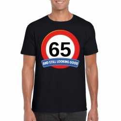Verkeersbord 65 jaar t shirt zwart heren