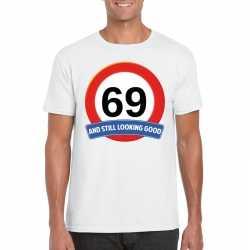 Verkeersbord 69 jaar t shirt wit heren