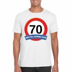 Verkeersbord 70 jaar t shirt wit heren