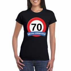 Verkeersbord 70 jaar t shirt zwart dames