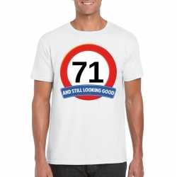 Verkeersbord 71 jaar t shirt wit heren