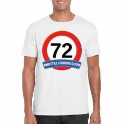 Verkeersbord 72 jaar t shirt wit heren