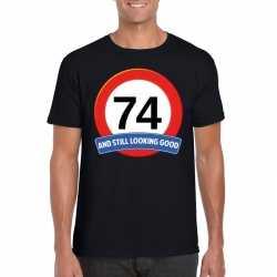 Verkeersbord 74 jaar t shirt zwart heren