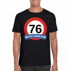 Verkeersbord 76 jaar t shirt zwart heren