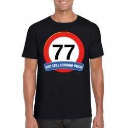 Verkeersbord 77 jaar t shirt zwart heren