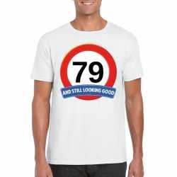 Verkeersbord 79 jaar t shirt wit heren