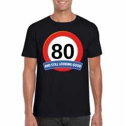 Verkeersbord 80 jaar t shirt zwart heren