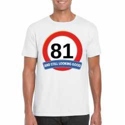 Verkeersbord 81 jaar t shirt wit heren