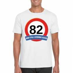 Verkeersbord 82 jaar t shirt wit heren