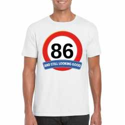 Verkeersbord 86 jaar t shirt wit heren