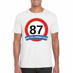 Verkeersbord 87 jaar t shirt wit heren