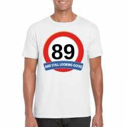 Verkeersbord 89 jaar t shirt wit heren