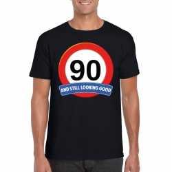 Verkeersbord 90 jaar t shirt zwart heren