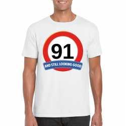 Verkeersbord 91 jaar t shirt wit heren