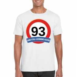 Verkeersbord 93 jaar t shirt wit heren