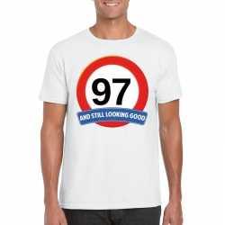 Verkeersbord 97 jaar t shirt wit heren