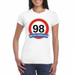 Verkeersbord 98 jaar t shirt wit dames