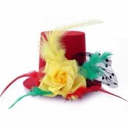 Verkleed mini hoge hoed rood/geel/groen dames