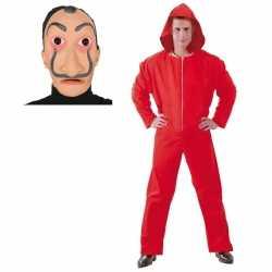 Verkleed overall papel rood maat l heren dali masker
