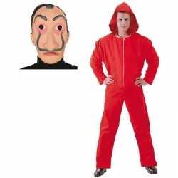 Verkleed overall papel rood maat m heren dali masker