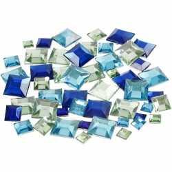 Vierkante plak diamantjes blauw mix